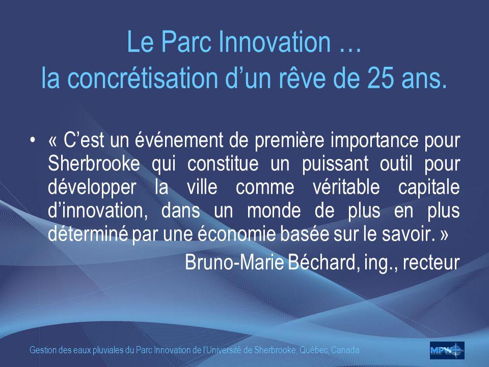 Gestion des eaux pluviales du Parc Innovation de lUniversité de Sherbrooke, Québec, Canada Le Parc Innovation … la concrétisation dun rêve de 25 ans.