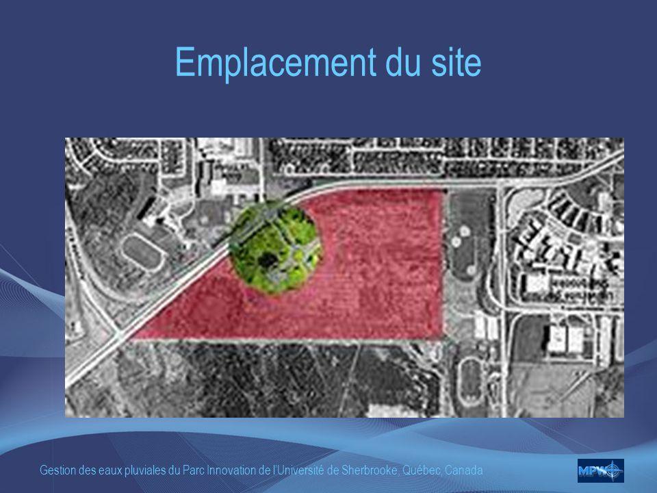 Gestion des eaux pluviales du Parc Innovation de lUniversité de Sherbrooke, Québec, Canada Emplacement du site