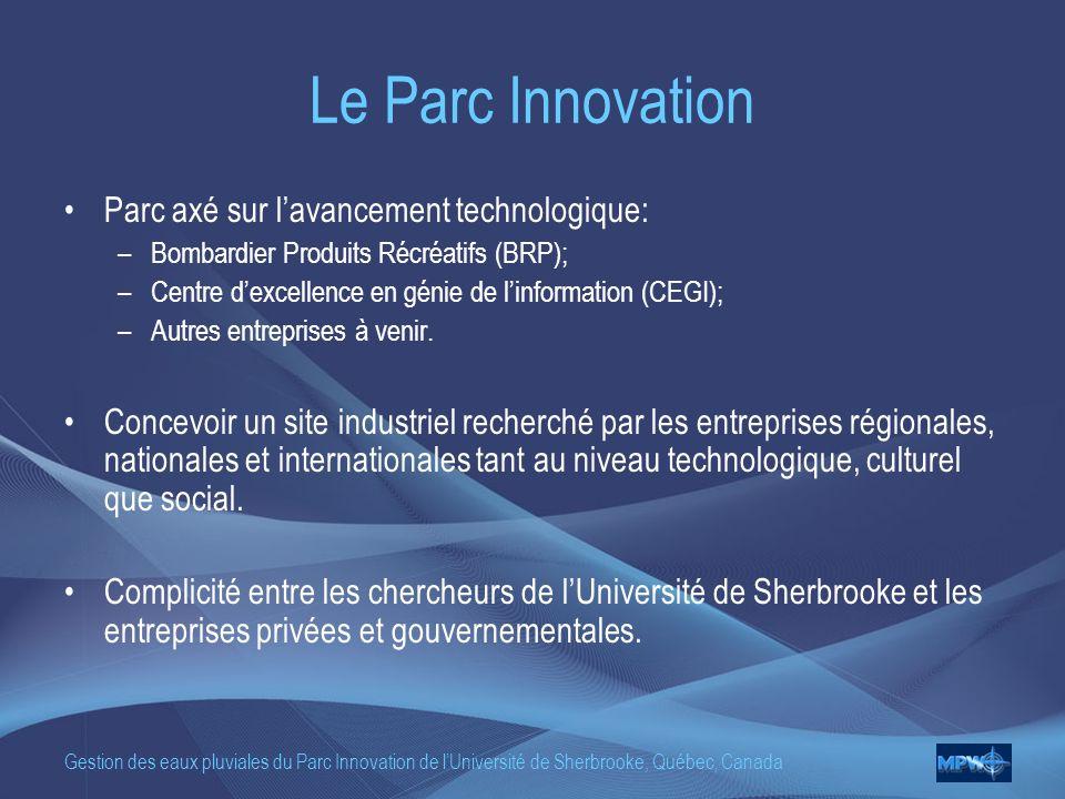 Gestion des eaux pluviales du Parc Innovation de lUniversité de Sherbrooke, Québec, Canada Le Parc Innovation Parc axé sur lavancement technologique: –Bombardier Produits Récréatifs (BRP); –Centre dexcellence en génie de linformation (CEGI); –Autres entreprises à venir.