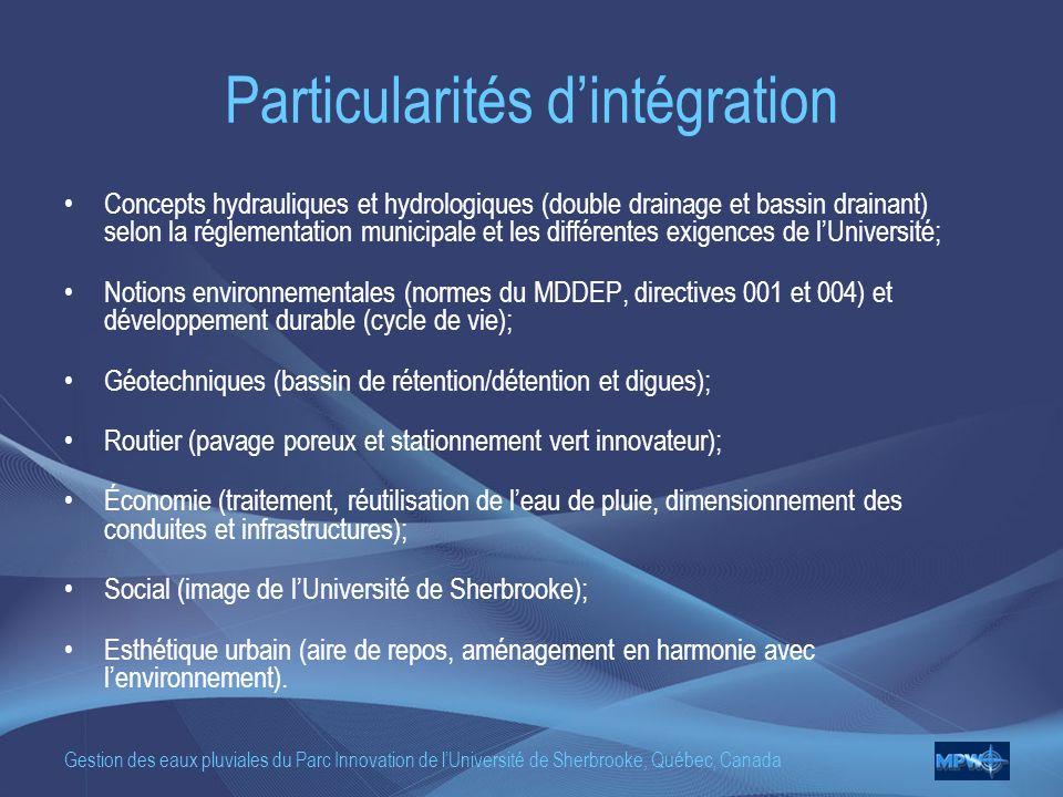 Gestion des eaux pluviales du Parc Innovation de lUniversité de Sherbrooke, Québec, Canada Particularités dintégration Concepts hydrauliques et hydrologiques (double drainage et bassin drainant) selon la réglementation municipale et les différentes exigences de lUniversité; Notions environnementales (normes du MDDEP, directives 001 et 004) et développement durable (cycle de vie); Géotechniques (bassin de rétention/détention et digues); Routier (pavage poreux et stationnement vert innovateur); Économie (traitement, réutilisation de leau de pluie, dimensionnement des conduites et infrastructures); Social (image de lUniversité de Sherbrooke); Esthétique urbain (aire de repos, aménagement en harmonie avec lenvironnement).