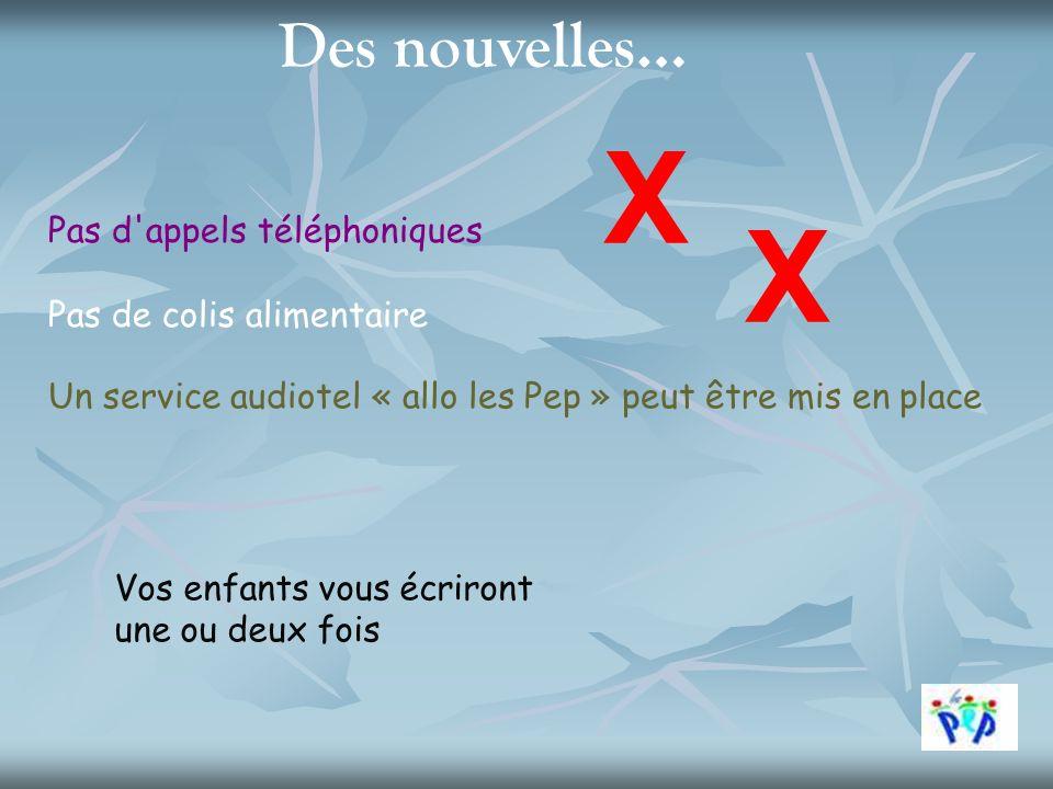 Des nouvelles… X Pas d'appels téléphoniques Pas de colis alimentaire X Un service audiotel « allo les Pep » peut être mis en place Vos enfants vous éc