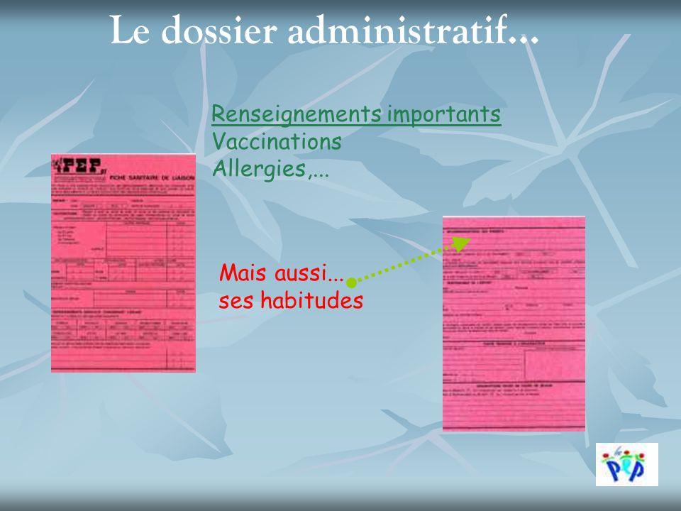 Le dossier administratif… Renseignements importants Vaccinations Allergies,... Mais aussi... ses habitudes