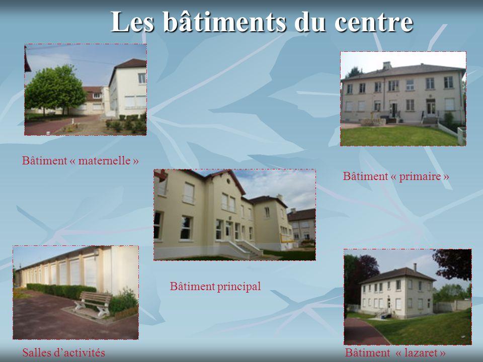 Les bâtiments du centre Bâtiment « lazaret » Bâtiment principal Bâtiment « primaire » Salles dactivités Bâtiment « maternelle »