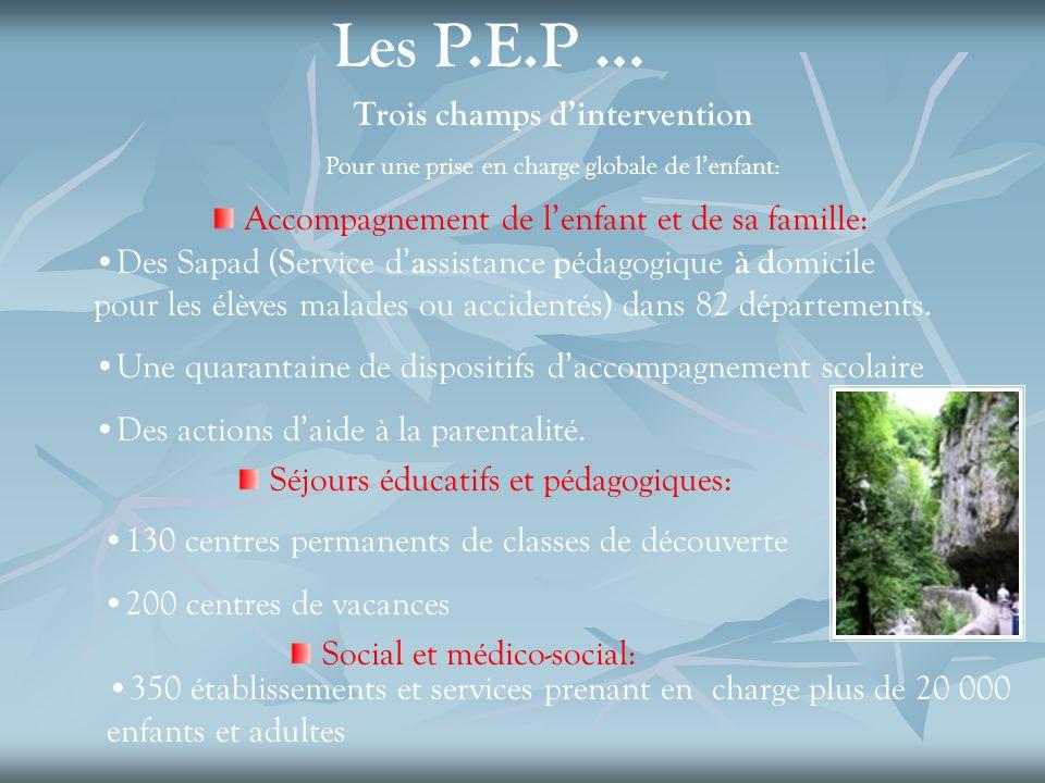 Les P.E.P … Trois champs dintervention Pour une prise en charge globale de lenfant: Accompagnement de lenfant et de sa famille: Des Sapad ( S ervice d