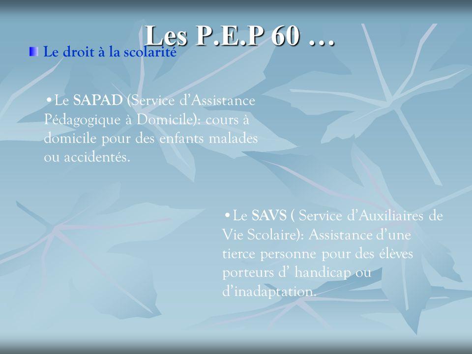 Les P.E.P 60 … Le droit à la scolarité Le SAPAD (Service dAssistance Pédagogique à Domicile): cours à domicile pour des enfants malades ou accidentés.