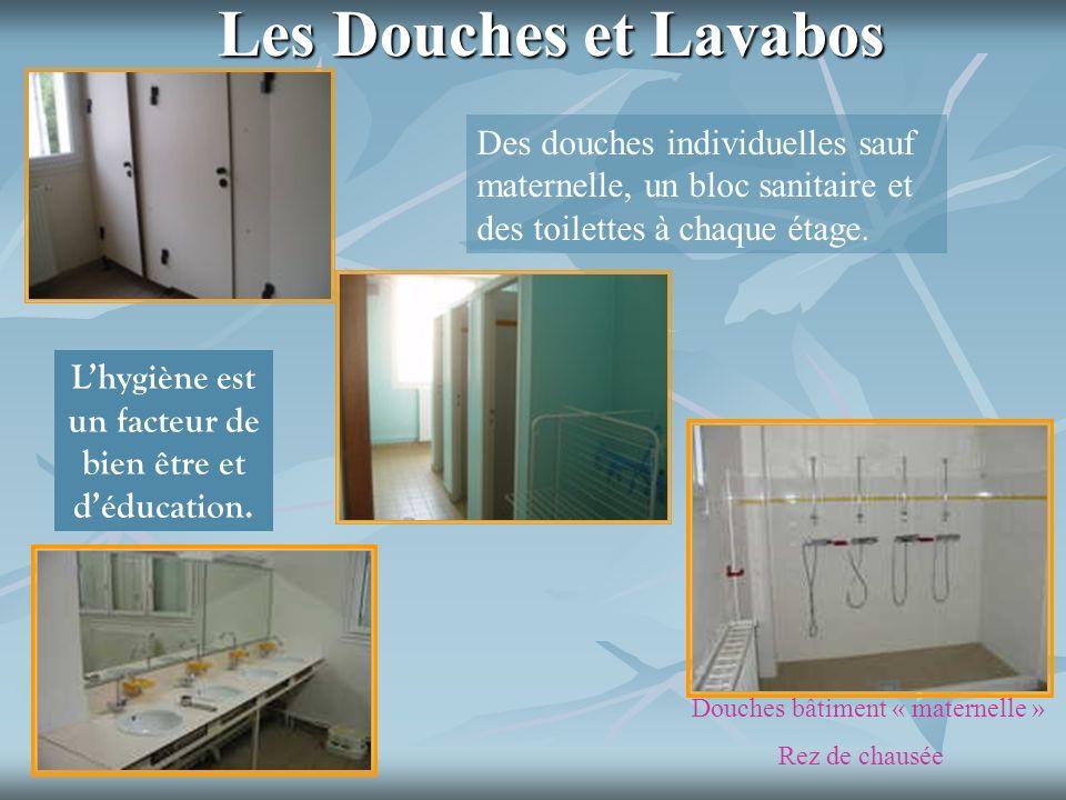 Les Douches et Lavabos Des douches individuelles sauf maternelle, un bloc sanitaire et des toilettes à chaque étage. Lhygiène est un facteur de bien ê
