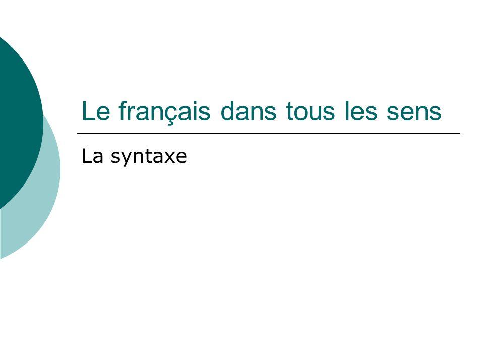 Le français dans tous les sens La syntaxe