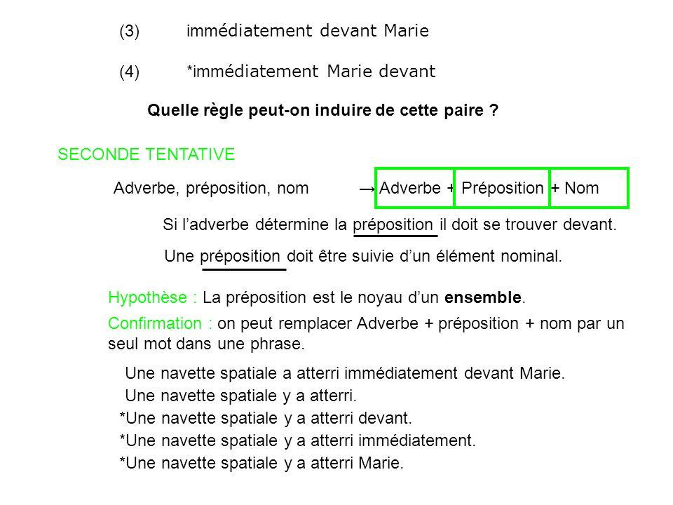 (3)imm édiatement devant Marie (4)*imm édiatement Marie devant Quelle règle peut-on induire de cette paire ? SECONDE TENTATIVE Adverbe, préposition, n