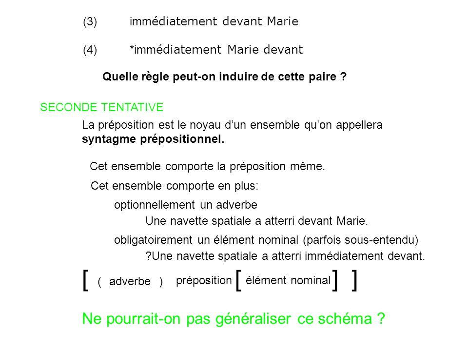 (3)imm édiatement devant Marie (4)*imm édiatement Marie devant Quelle règle peut-on induire de cette paire ? SECONDE TENTATIVE La préposition est le n