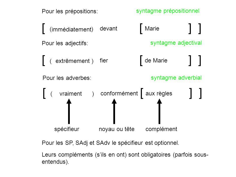 [ ] fier [] de Marie extrêmement() Pour les adjectifs: syntagme adjectival [ ] devant [] Marie () Pour les prépositions: syntagme prépositionnel [ ] c