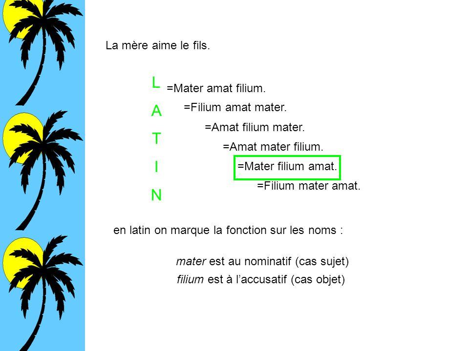 La mère aime le fils. =Mater amat filium. =Filium amat mater. =Amat filium mater. =Mater filium amat. =Filium mater amat. =Amat mater filium. en latin