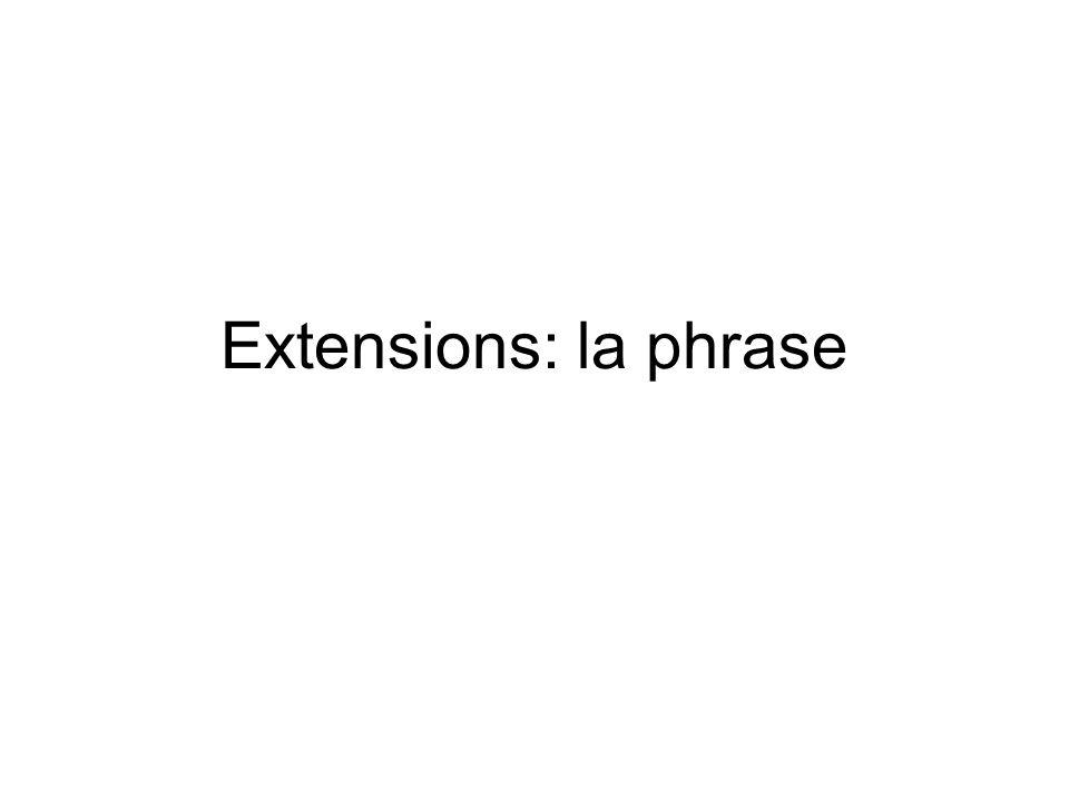 Extensions: la phrase
