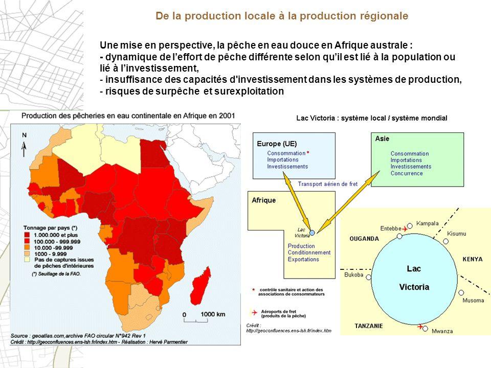Une mise en perspective, la pêche en eau douce en Afrique australe : - dynamique de leffort de pêche différente selon quil est lié à la population ou
