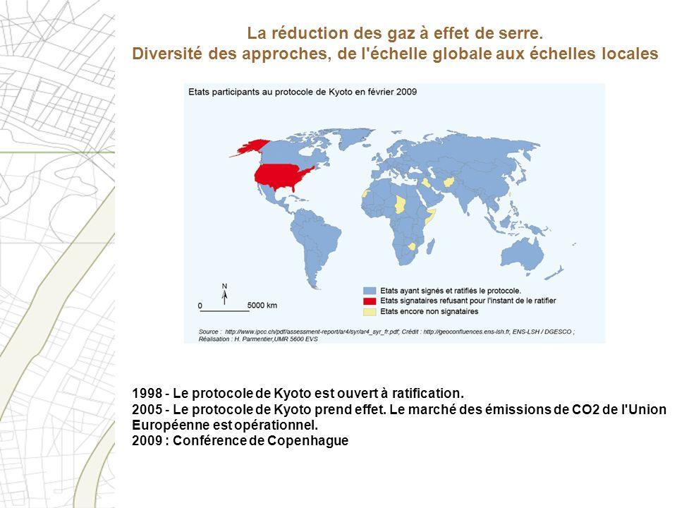 1998 - Le protocole de Kyoto est ouvert à ratification. 2005 - Le protocole de Kyoto prend effet. Le marché des émissions de CO2 de l'Union Européenne