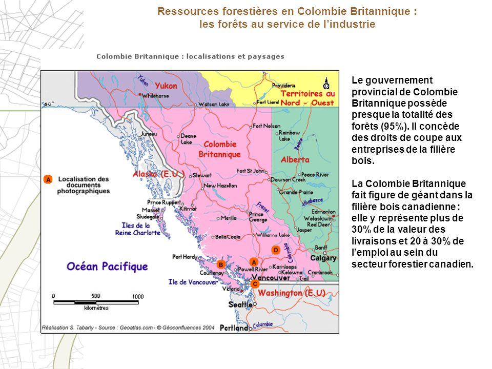 Le gouvernement provincial de Colombie Britannique possède presque la totalité des forêts (95%). Il concède des droits de coupe aux entreprises de la