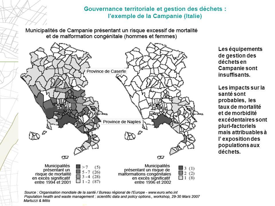 Les équipements de gestion des déchets en Campanie sont insuffisants. Les impacts sur la santé sont probables, les taux de mortalité et de morbidité e