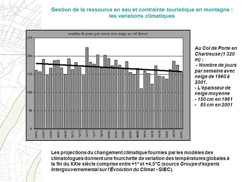 Au Col de Porte en Chartreuse (1 320 m) : - Nombre de jours par semaine avec neige de 1960 à 2001. - Lépaisseur de neige moyenne - 150 cm en 1961 - 85