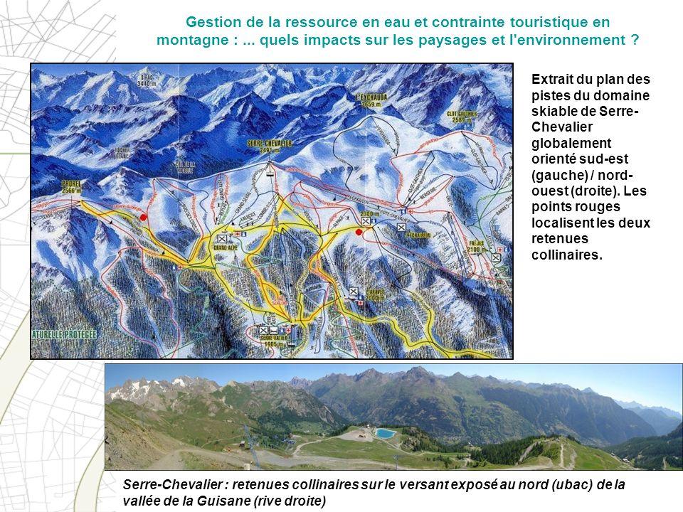 Serre-Chevalier : retenues collinaires sur le versant exposé au nord (ubac) de la vallée de la Guisane (rive droite) Extrait du plan des pistes du dom