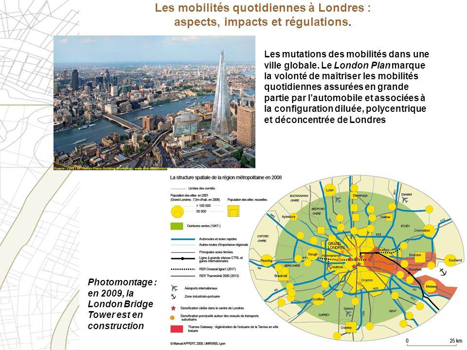 Les mobilités quotidiennes à Londres : aspects, impacts et régulations. Photomontage : en 2009, la London Bridge Tower est en construction Les mutatio