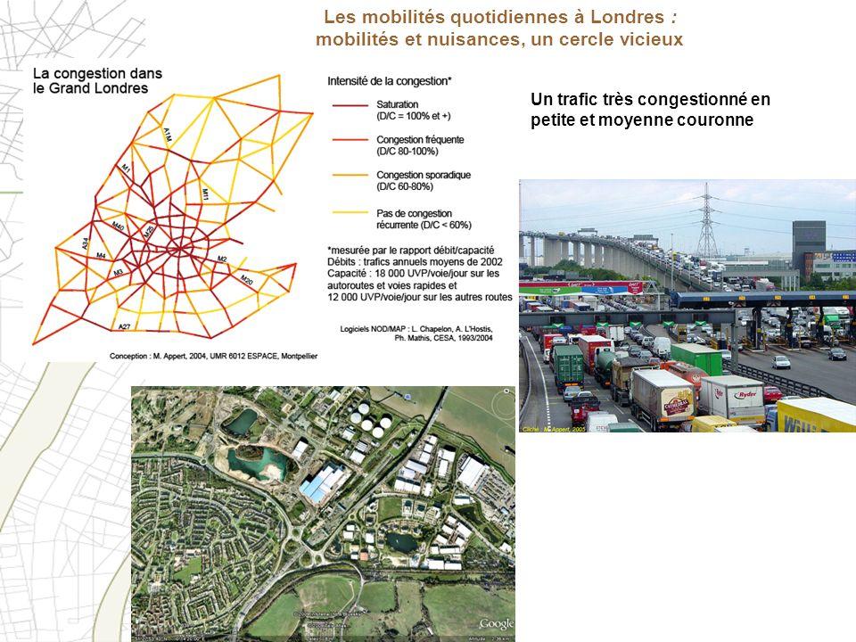 Les mobilités quotidiennes à Londres : mobilités et nuisances, un cercle vicieux Un trafic très congestionné en petite et moyenne couronne
