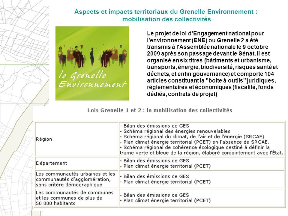 Le projet de loi d'Engagement national pour lenvironnement (ENE) ou Grenelle 2 a été transmis à l'Assemblée nationale le 9 octobre 2009 après son pass