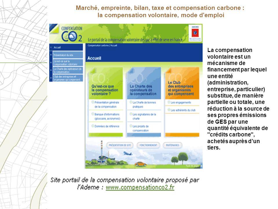 Marché, empreinte, bilan, taxe et compensation carbone : la compensation volontaire, mode d'emploi La compensation volontaire est un mécanisme de fina