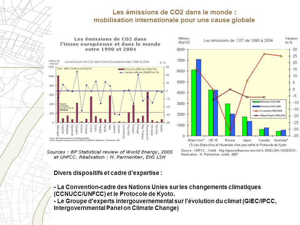 Les mécanismes du Protocole de Kyoto : deux mécanismes de projets« : - Le mécanisme de mise en œuvre conjointe (MOC/JI Joint Implementation) - Le mécanisme pour le développement propre (MDP/CDM Clean Development Mechanism) Le Protocole prévoit des mécanismes dits de flexibilité » + : Les émissions de CO2 dans le monde : les mécanismes du protocole de Kyoto