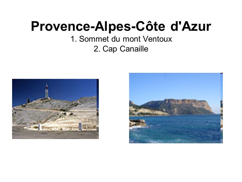 Provence-Alpes-Côte d'Azur 1. Sommet du mont Ventoux 2. Cap Canaille
