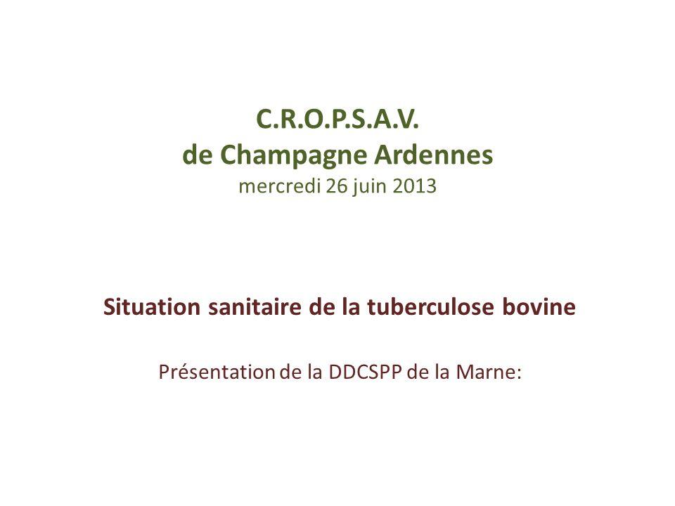 C.R.O.P.S.A.V. de Champagne Ardennes mercredi 26 juin 2013 Situation sanitaire de la tuberculose bovine Présentation de la DDCSPP de la Marne: