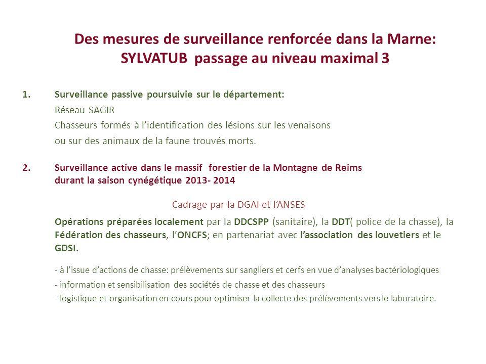 Des mesures de surveillance renforcée dans la Marne: SYLVATUB passage au niveau maximal 3 1.Surveillance passive poursuivie sur le département: Réseau
