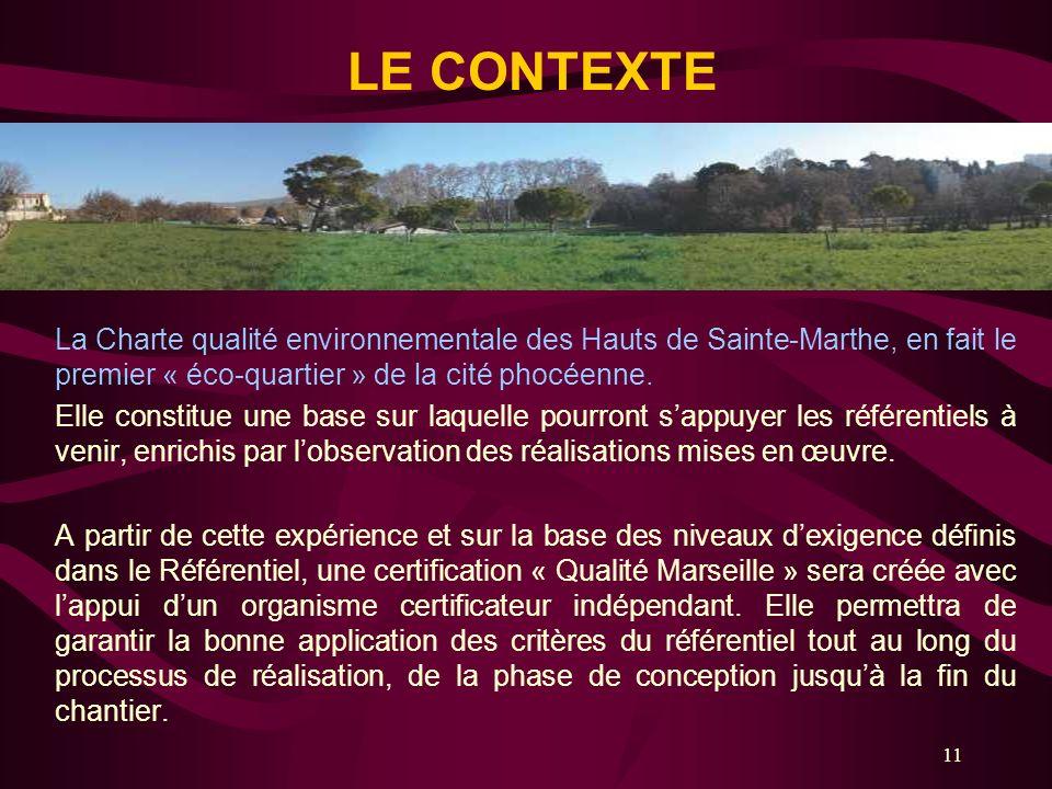 11 La Charte qualité environnementale des Hauts de Sainte-Marthe, en fait le premier « éco-quartier » de la cité phocéenne. Elle constitue une base su