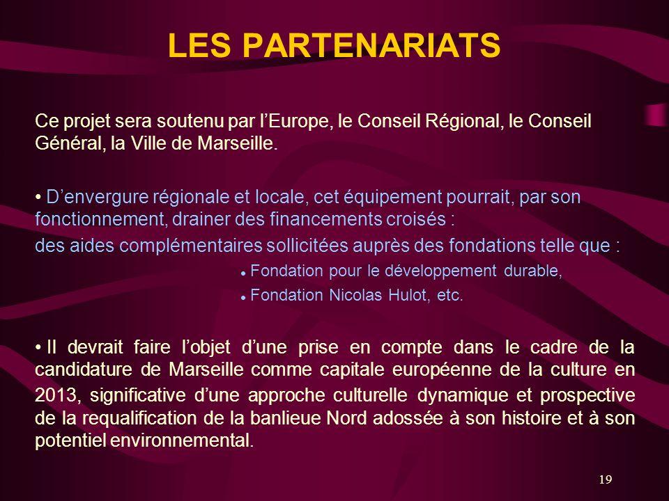 19 LES PARTENARIATS Ce projet sera soutenu par lEurope, le Conseil Régional, le Conseil Général, la Ville de Marseille. Denvergure régionale et locale