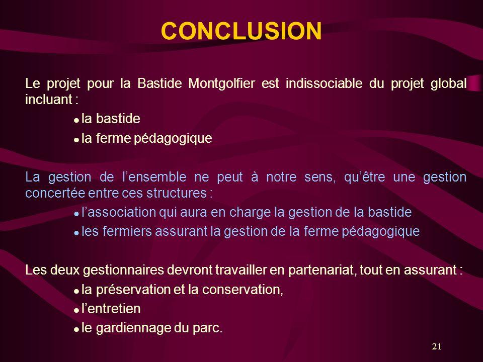 21 CONCLUSION Le projet pour la Bastide Montgolfier est indissociable du projet global incluant : la bastide la ferme pédagogique La gestion de lensem