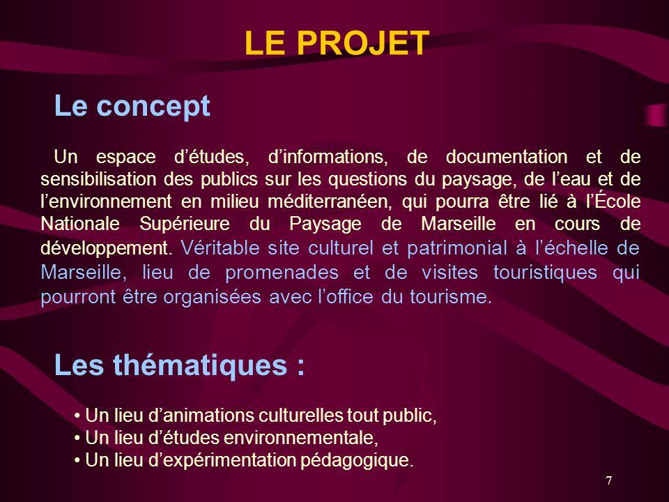 7 LE PROJET Le concept Un espace détudes, dinformations, de documentation et de sensibilisation des publics sur les questions du paysage, de leau et d