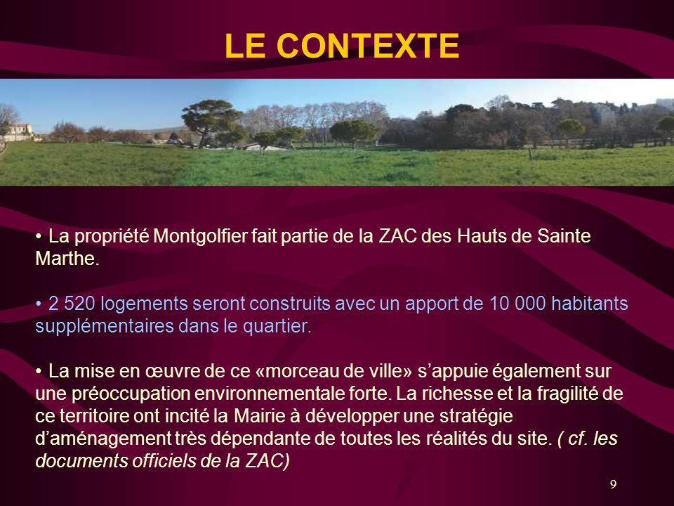 9 LE CONTEXTE La propriété Montgolfier fait partie de la ZAC des Hauts de Sainte Marthe. 2 520 logements seront construits avec un apport de 10 000 ha