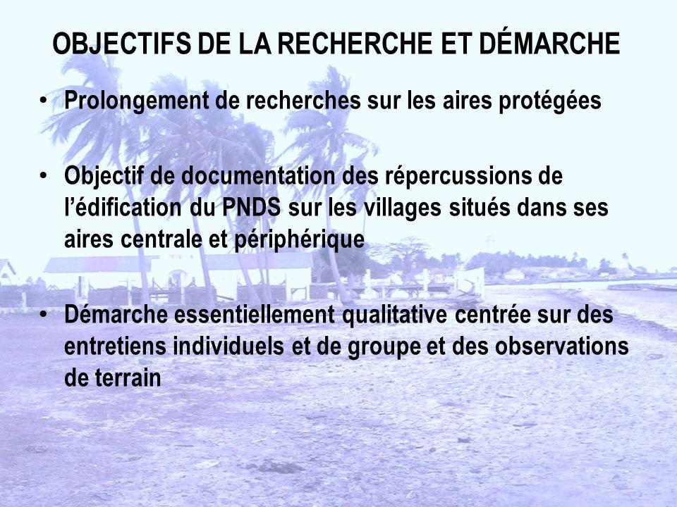 OBJECTIFS DE LA RECHERCHE ET DÉMARCHE Prolongement de recherches sur les aires protégées Objectif de documentation des répercussions de lédification d