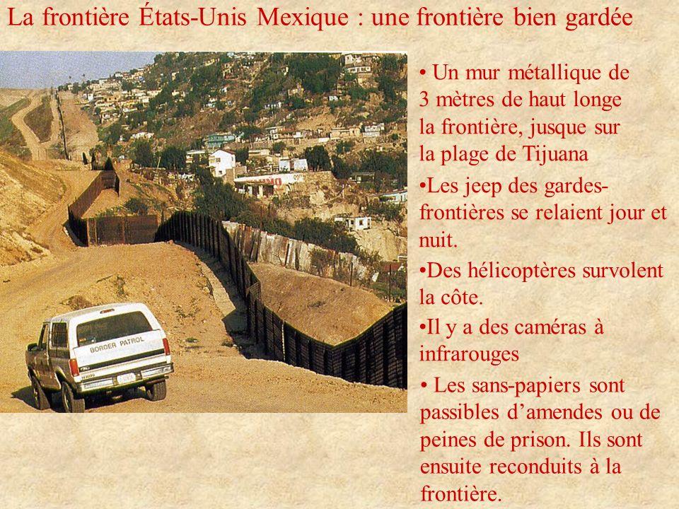 La frontière États-Unis Mexique : une frontière bien gardée Un mur métallique de 3 mètres de haut longe la frontière, jusque sur la plage de Tijuana L