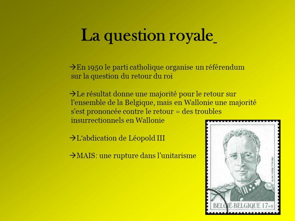 La question royale En 1950 le parti catholique organise un référendum sur la question du retour du roi Le résultat donne une majorité pour le retour s