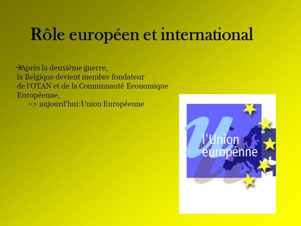 Rôle européen et international Après la deuxième guerre, la Belgique devient membre fondateur de lOTAN et de la Communauté Economique Européenne, => a