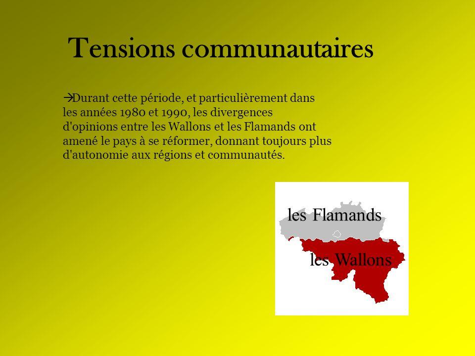 Tensions communautaires Durant cette période, et particulièrement dans les années 1980 et 1990, les divergences d'opinions entre les Wallons et les Fl