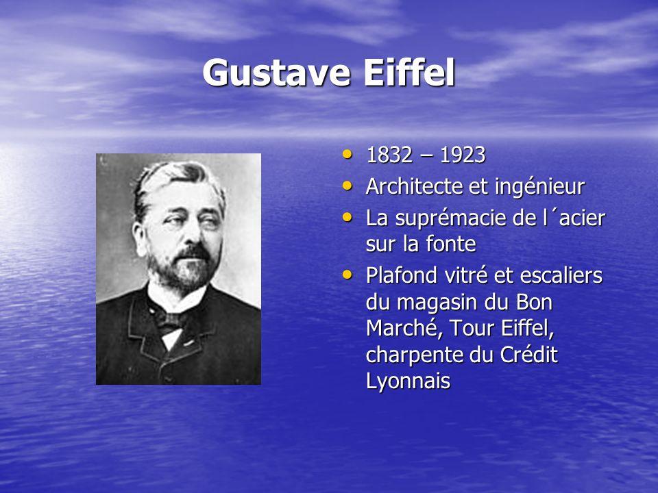 Gustave Eiffel 1832 – 1923 1832 – 1923 Architecte et ingénieur Architecte et ingénieur La suprémacie de l´acier sur la fonte La suprémacie de l´acier
