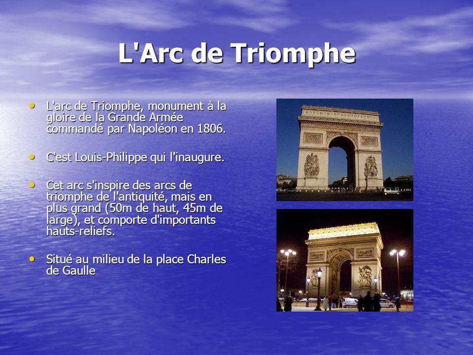 L'Arc de Triomphe L'arc de Triomphe, monument à la gloire de la Grande Armée commandé par Napoléon en 1806. L'arc de Triomphe, monument à la gloire de