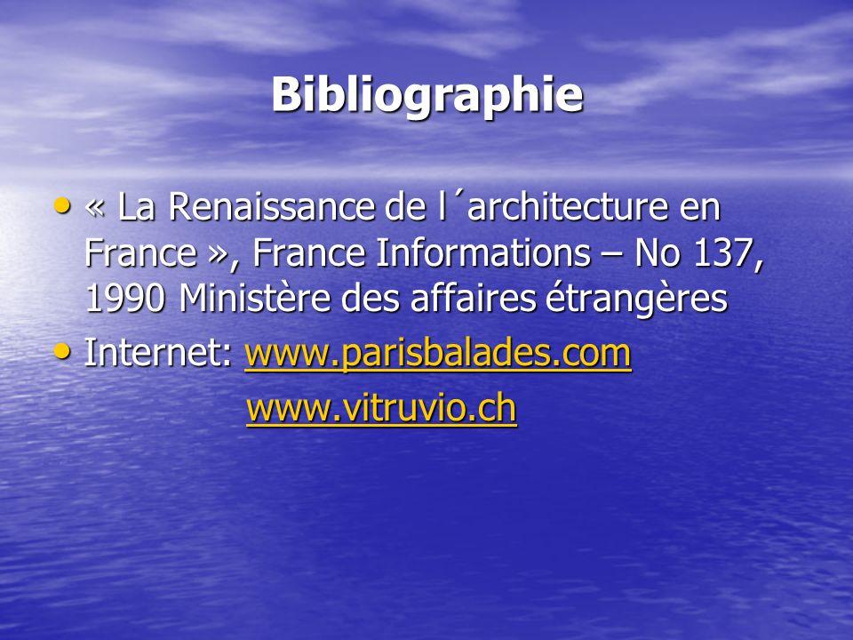 Bibliographie « La Renaissance de l´architecture en France », France Informations – No 137, 1990 Ministère des affaires étrangères « La Renaissance de