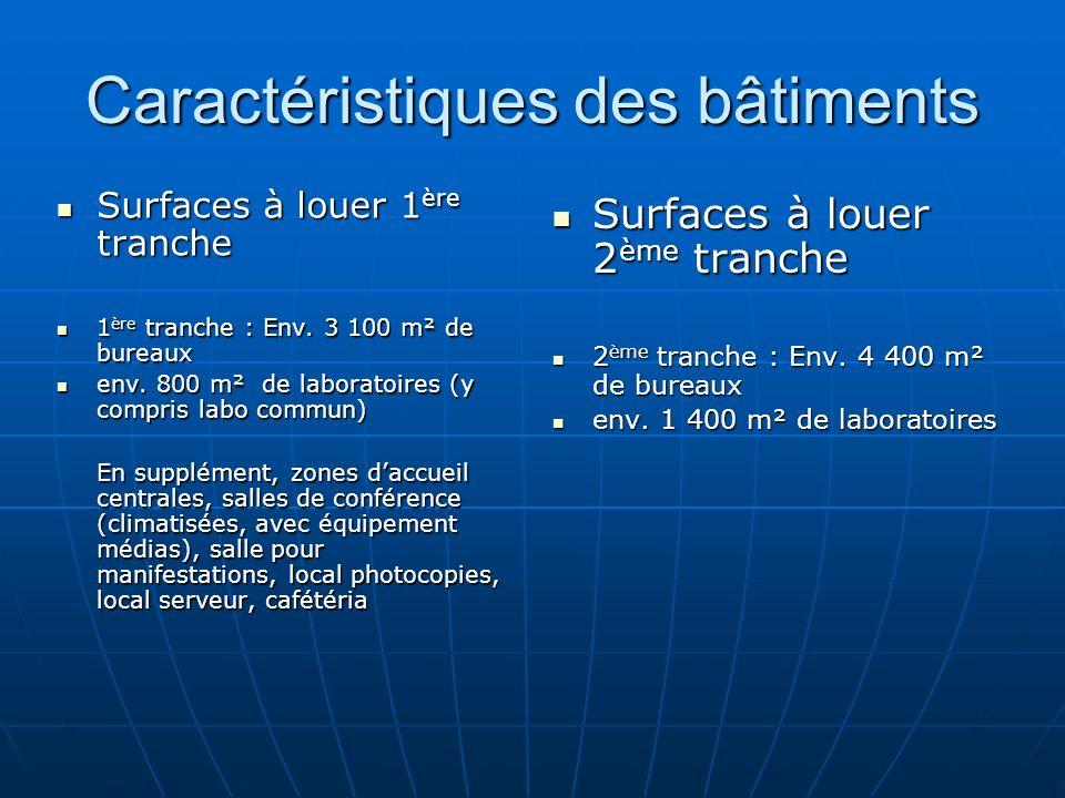 Caractéristiques des bâtiments Surfaces à louer 1 ère tranche Surfaces à louer 1 ère tranche 1 ère tranche : Env.
