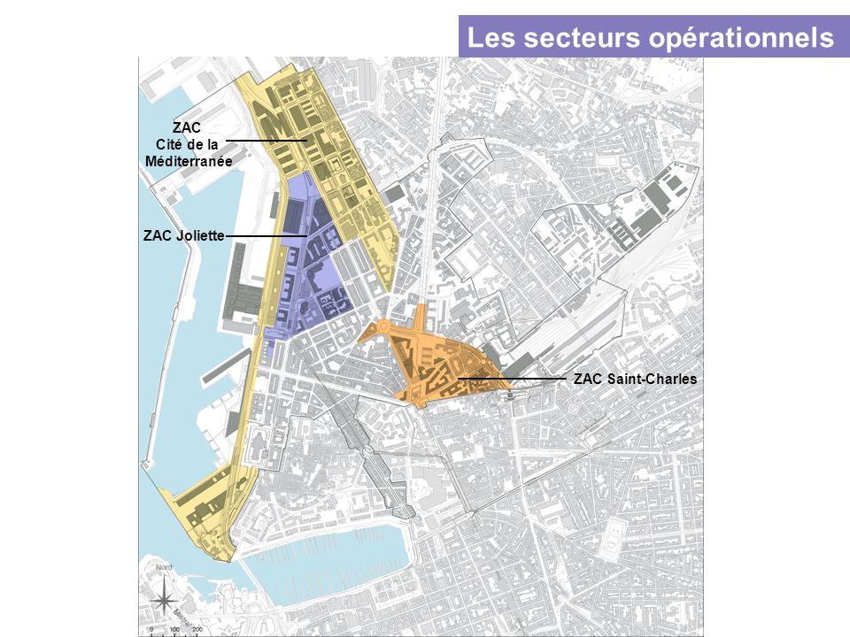 ZAC Saint-Charles ZAC Joliette ZAC Cité de la Méditerranée Les secteurs opérationnels