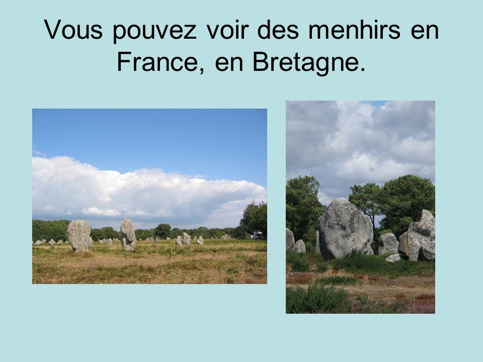Vous pouvez voir des menhirs en France, en Bretagne.