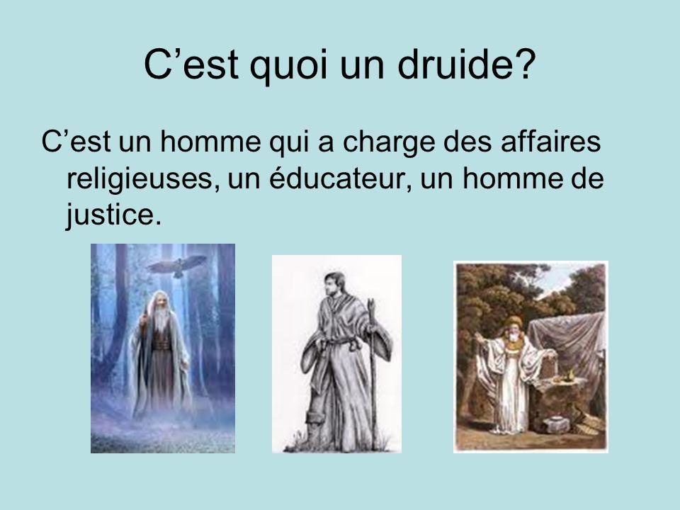 Cest quoi un druide? Cest un homme qui a charge des affaires religieuses, un éducateur, un homme de justice.