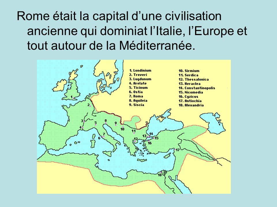Rome était la capital dune civilisation ancienne qui dominiat lItalie, lEurope et tout autour de la Méditerranée.