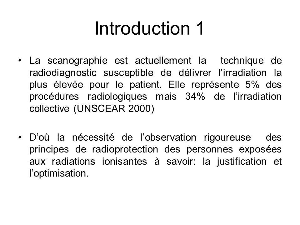 Introduction 1 La scanographie est actuellement la technique de radiodiagnostic susceptible de délivrer lirradiation la plus élevée pour le patient. E