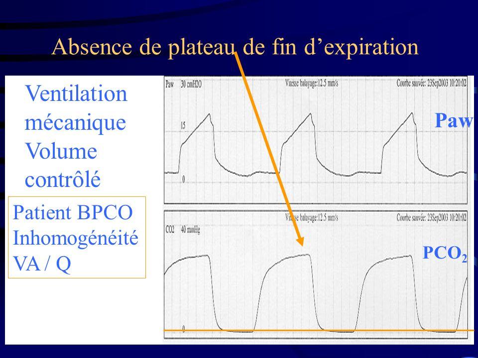 Ventilation mécanique Volume contrôlé Patient BPCO Inhomogénéité VA / Q Absence de plateau de fin dexpiration Paw PCO 2
